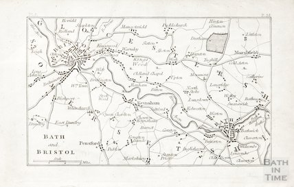 Map of Bath and Bristol 1803