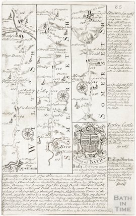 A strip map of Somersetshire and Wiltshire showing the route from Chippenham to Wells via Bath c.1720