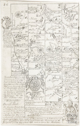 A strip map of Somersetshire and Wiltshire showing the route from Marlborough to Wells via Devizes c.1720