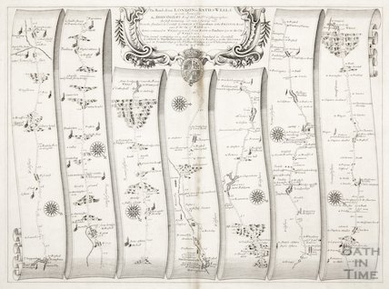 Ogilvy's strip map of the road from London to Bath & Wells 1675