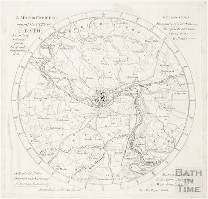 A map of five miles round the city of Bath 1850