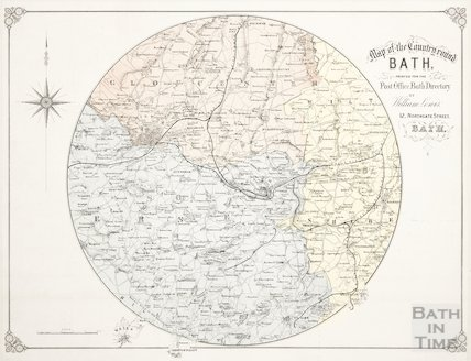 A map of the country round Bath 1870