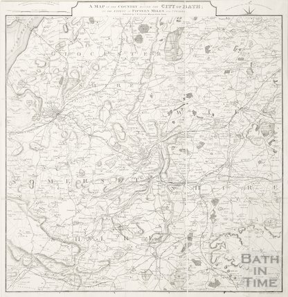 A map of the country round the city of Bath to the extent of fifteen miles and upwards 1873