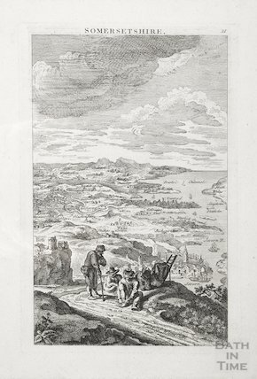 Exaggerated landscape view of Somersetshire 1796