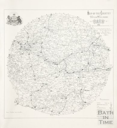 Map of the country sixteen miles round Bath 1880