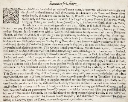 Description of the County of Somersetshire c.1650?