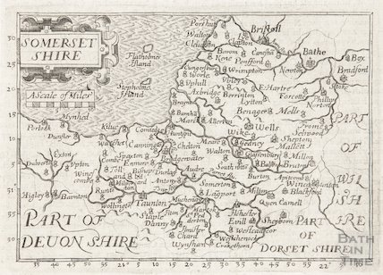 Map of Somersetshire and Part of Devonshire and Dorsetshire 1626