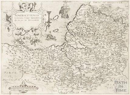 Map of Somersetshire: Somersettensis Comitatus. Vulgo Somersettshyre Qui olim pars suit Bel Gar. VM 1610