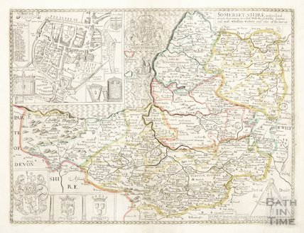 Map of Somersetshire and Bath 1668