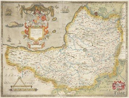 Saxton's map of Somersetshire, Somersetensem, comitat cagri fertilitate celebrem hec ob oculos ponit Tabula 1575