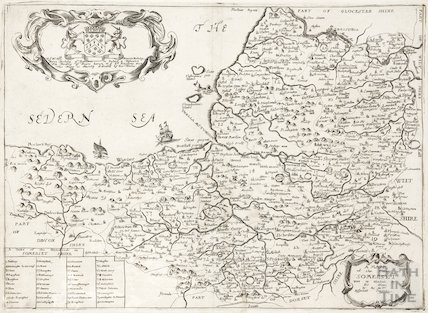 Richard Blome - A Map of the County of Somerset with its Hundreds 1673
