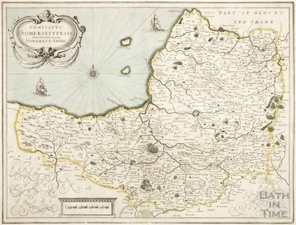 Johannes Jansson Comitatus Somersettensis. Map of Somersetshire 1636