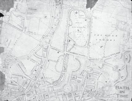 Blueprint of the Circus, the Royal Crescent, Victoria Park, the High Common and other places in Bath
