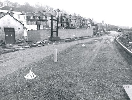 Construction of the Widcombe Relief Road, between the River Avon and Claverton Street, 14th November 1974.
