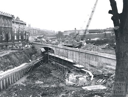 Construction of the Widcombe Relief Road, bridge spanning the Kennet and Avon Canal, Bath 1974