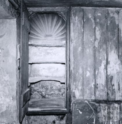 Shell topped cupboard, Bue Cottage (Station Cottage), Claverton Street 15th February 1964.