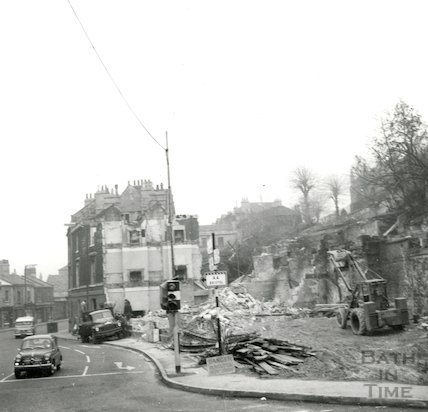 11 Lyncombe Place, Claverton Street undergoing demolition, Bath, December 1964.
