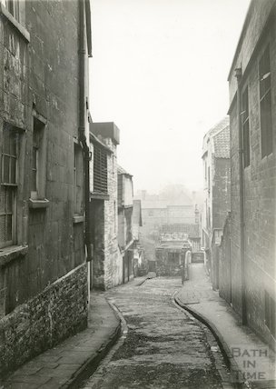 Old Orchard Street view looking east, off Walcot Street, Bath, 1936
