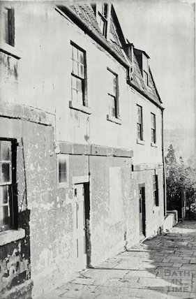 Houses at St. Swithin's Place, Walcot behind the Hat and Feather, October 1965.