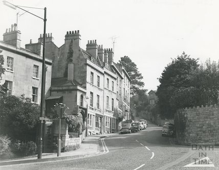 Lyncombe Hill showing the entrance to the Southcot Baptist Burial Ground, c.1965