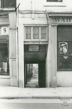 Hen and Chicken Court, entrance from Walcot Street, 1969