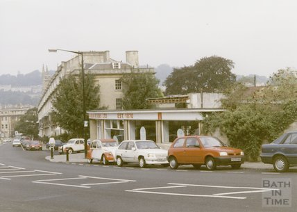Richardson's Garage, Sydney Wharf from Bathwick Hill before demolition, 1997