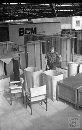 Packaging finished product at Bath Cabinet Makers, Bath, c.1967