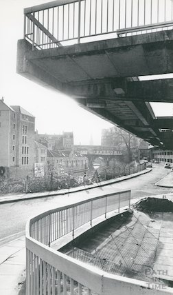 View of the rear of Pulteney Bridge, Bath, showing the Podium car park, 24th January 1983