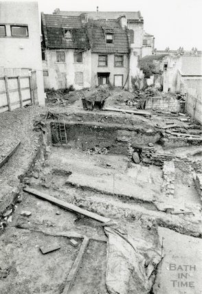 Archaeological dig behind Walcot Street showing Roman Remains, 1st May 1991