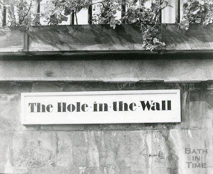 The Hole in the Wall restaurant sign, George Street, Bath, 1st September 1970