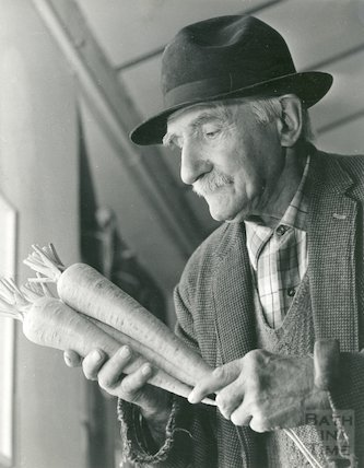 Mr. Fred Evry with carrots, 1st September 1970