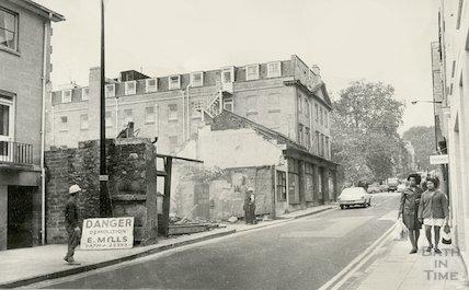 Demolition of Whiting's Garage, Barton Street, 6th November 1973