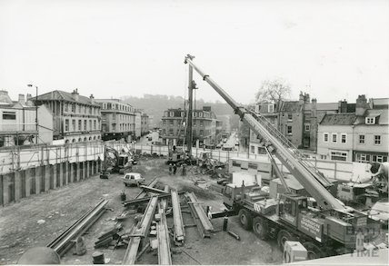 Construction on the Seven Dials Centre in Sawclose, Bath, 14th May 1991