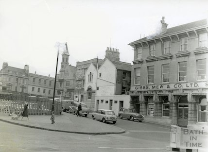 Sawclose, Bath prior to the construction of the Seven Dials centre and the iteration before that, 1962