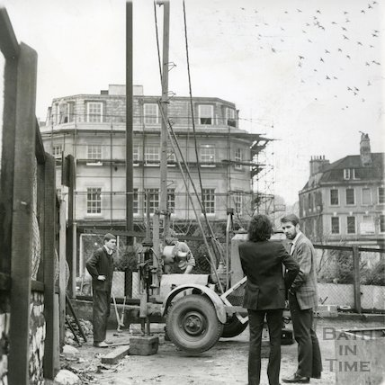 Seven Dials construction site, Sawclose, Bath, c.1973