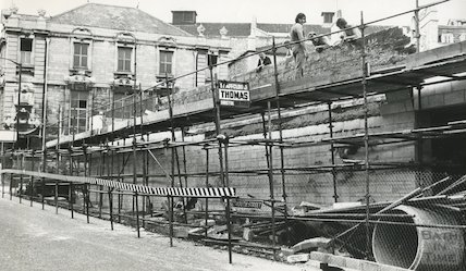 Construction of Seven Dials fronting Monmouth Street, Bath, 28th August 1973