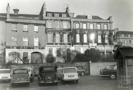 Car park outside the Theatre Royal, Bath now the site of the Seven Dials Centre, Bath, 1962