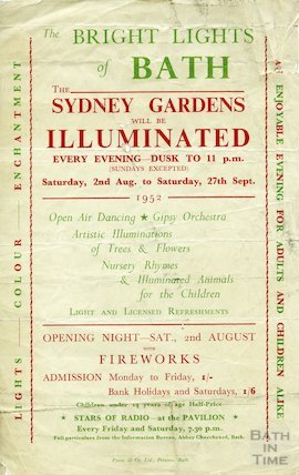 Advertisement for the Bright Lights of Bath from the 2nd August to 27th September 1952