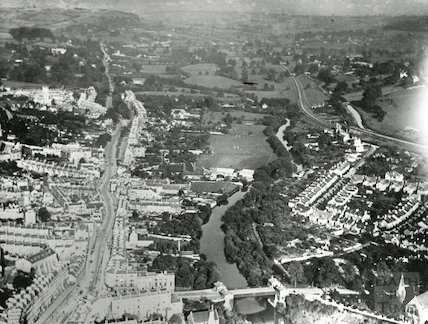 1924 Aerial Photograph of Bath featuring the view beyond Cleveland Bridge looking North East