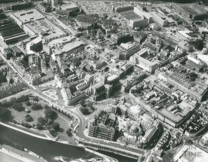 1974 Aerial Photograph of Bath showing a South Eastern view from the River Avon towards the Empire Hotel and Abby