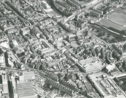 1974 Aerial Photograph of Bath showing a North Easterly view from Southgate looking towards the Empire Hotel and River Avon