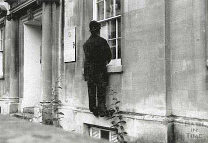 A policeman looking into the King Edwards School, Broad Street. 5th July 1991