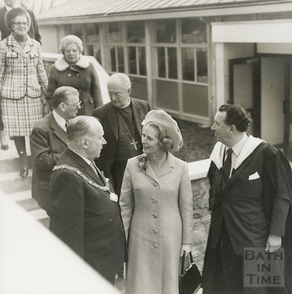Margaret Thatcher, Tom Cornish Mayor of Bath and the Headmaster Mr. Brian Holbeche after the opening of the new hall at King Edward's School on North Road, March 1974