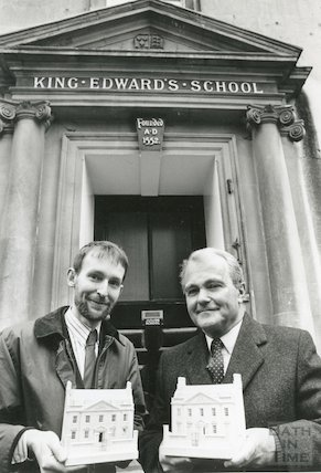 Timothy Richards and Headmaster John Wroughton holding miniature models of the King Edward's Lower School, Broad Street, Bath, 19th December 1990