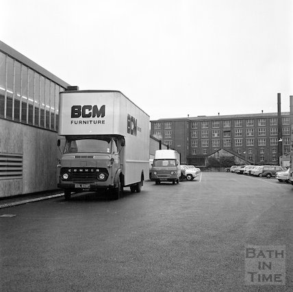 Outside the new Bath Cabinet Maker's works, Lower Bristol Road, Bath, 29 September 1967
