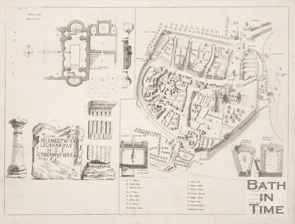 Map of Bath, Plan of Roman Baths and Roman Antiquities c.1680