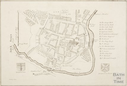 Map of Bath from Stuckeley's Itinerarium Curiosum 1723