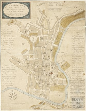 1783 A New and Correct Plan of the City of Bath with the New Additional Buildings to the present time