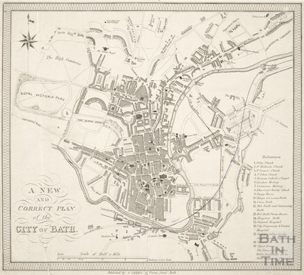 A New and Correct Plan of the City of Bath 1845