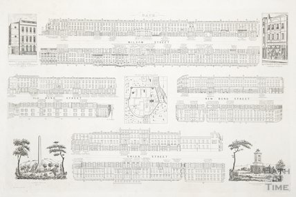 Plan of Bath (1700) and Street panoramas c.1840